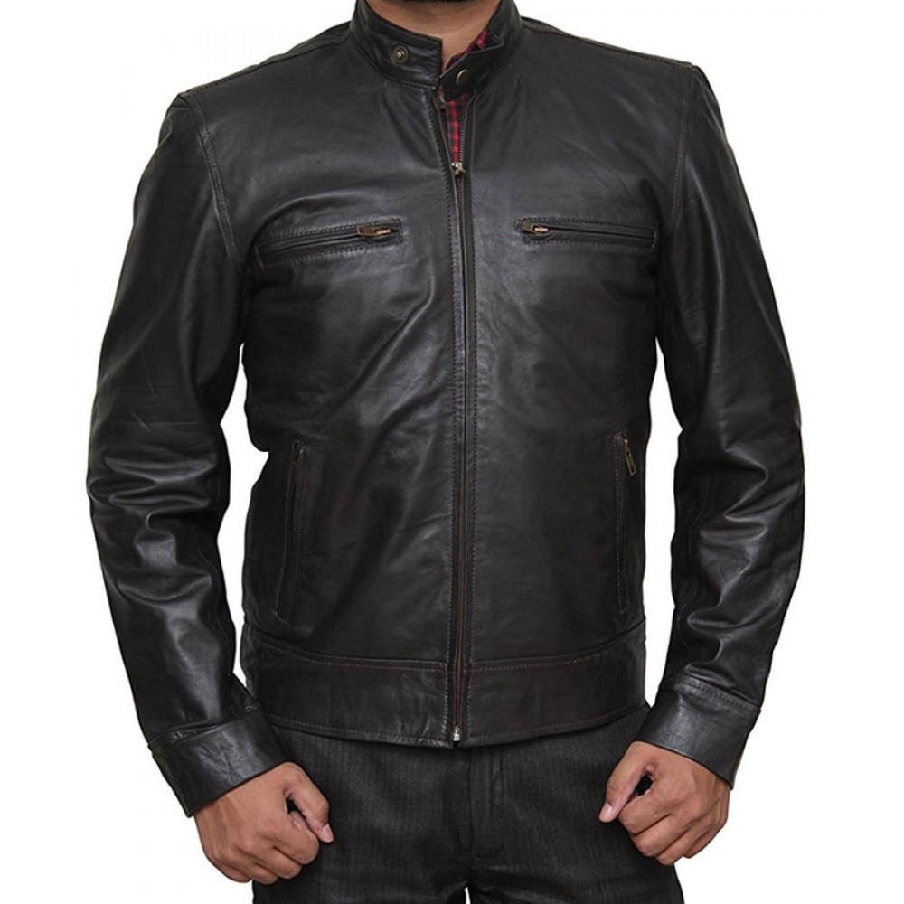Black Chicago PD Leather Jacket for Men