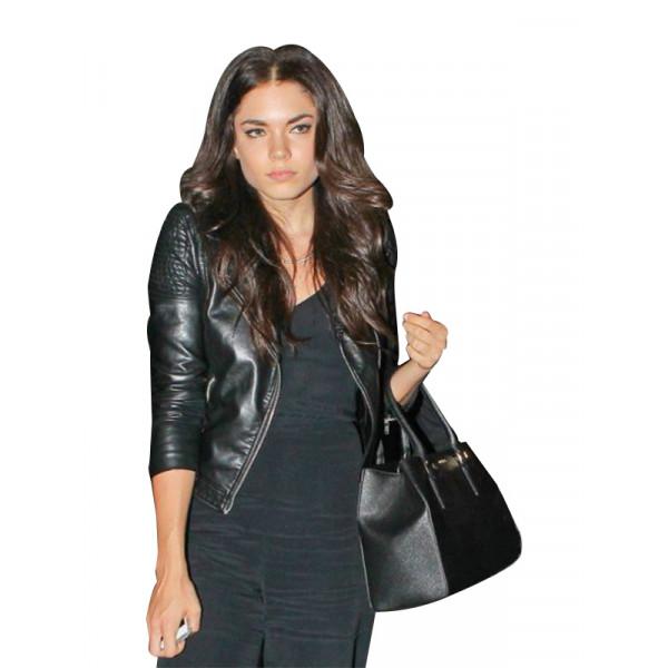 Aarika Wolf Black Leather Jacket For Women