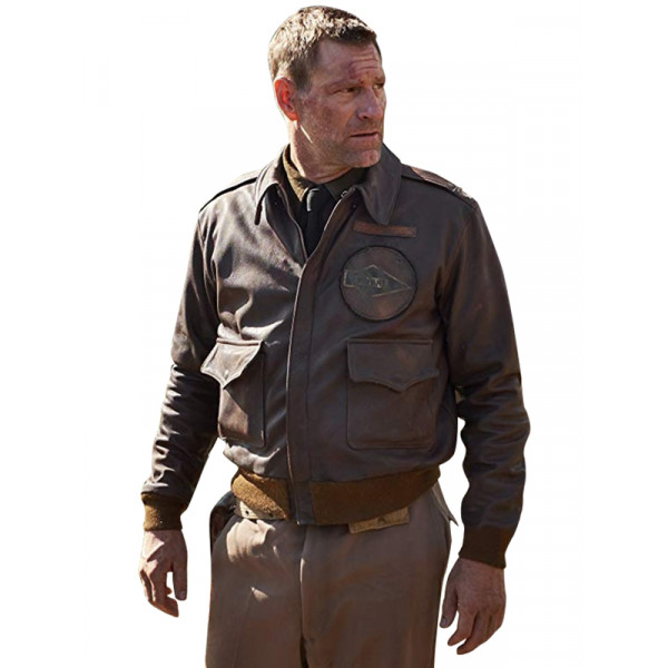 Aaron Eckhart Midway Brown Leather Jacket