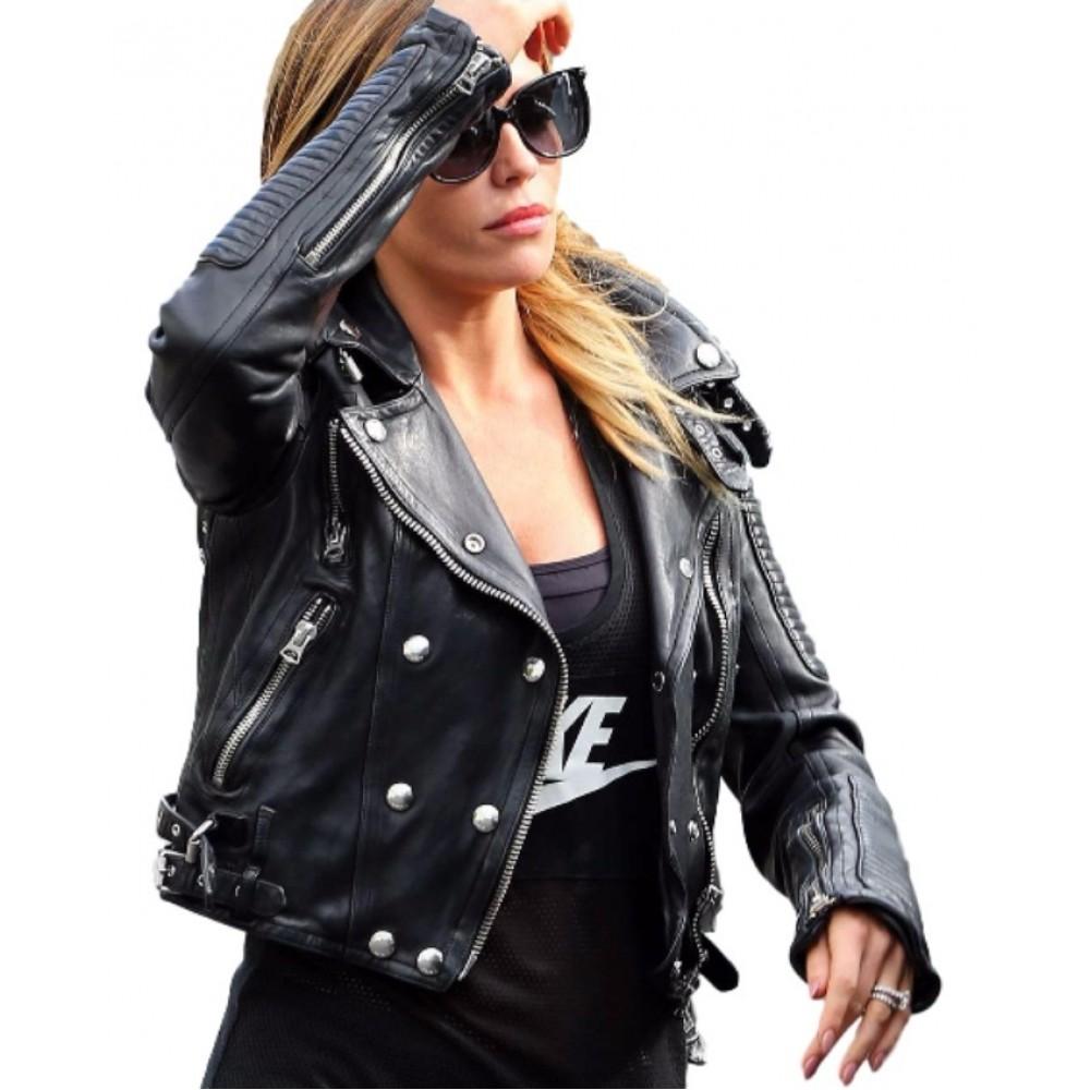 Abbey Clancy Biker leather Jacket