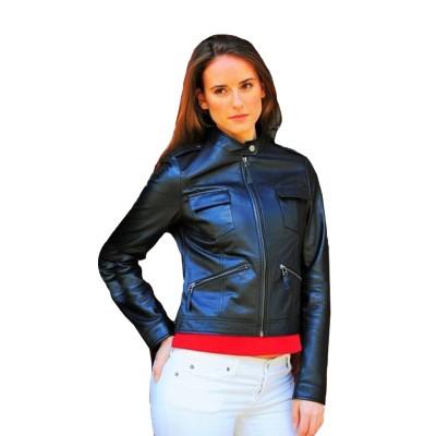 Akira Women Biker Black Leather Jacket