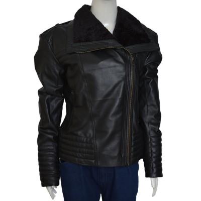 Asymmetrical Style Shawl Collar Leather Jacket