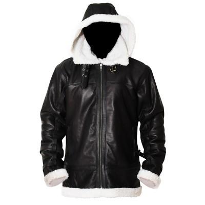 B3 Bomber Removable Hood Sheepskin Leather Jacket