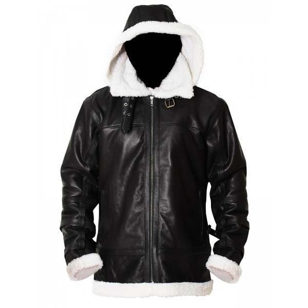 B3 Bomber Removable Hood Sheepskin Leather Jacket