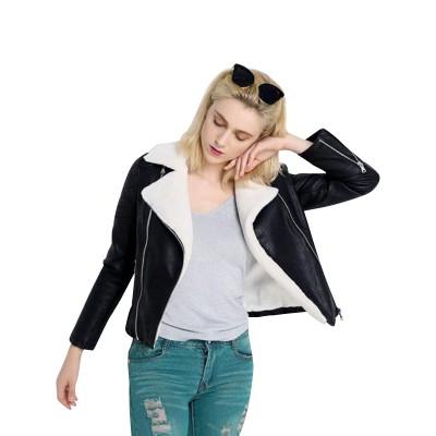 Black Fur Women Biker Leather Jacket