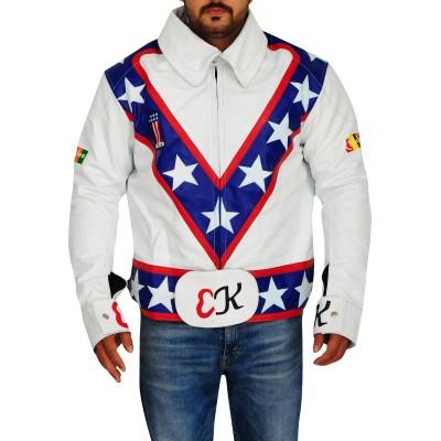 Evel Knievel Motorcycle White Leather Jacket