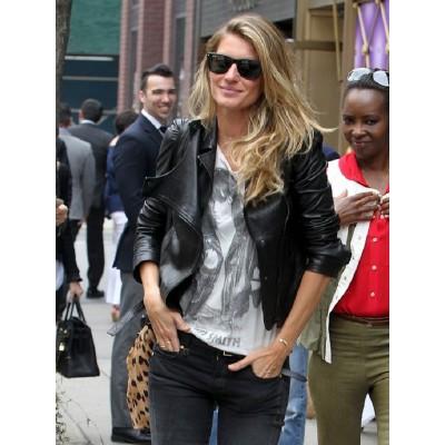 Gisele Bündchen Brazilian Model Black Leather Jacket
