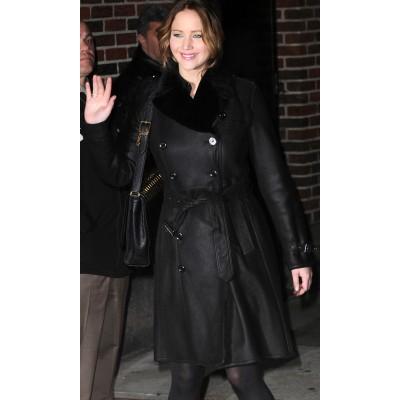 Jennifer Lawrence leather Coat