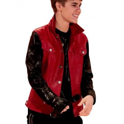 Justin Bieber Stylish Black Sleeves Red Jacket