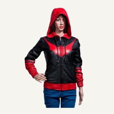 Katherine Kane Bomber Batwoman Hooded Leather Jacket