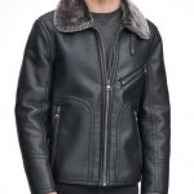 Lawrence Faux Shearling Collar Pilot Jacket