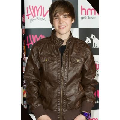 Pop Singer Justin Bieber Brown Jacket