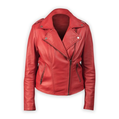 Red Leather Flashback Biker Jacket