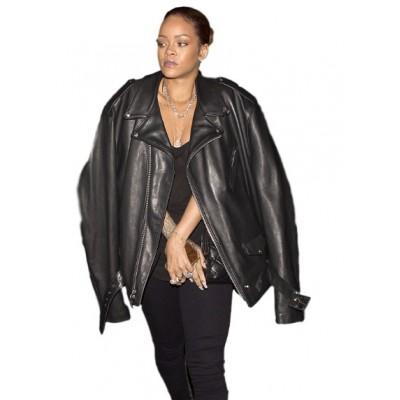 Rihanna Bomber leather Jacket