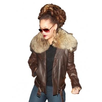 Rihanna Faux Fur Collar leather Jacket