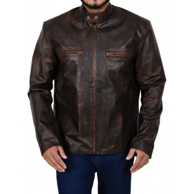 Tom Cruise The Kennedys Premiere Distressed Leather Jacket